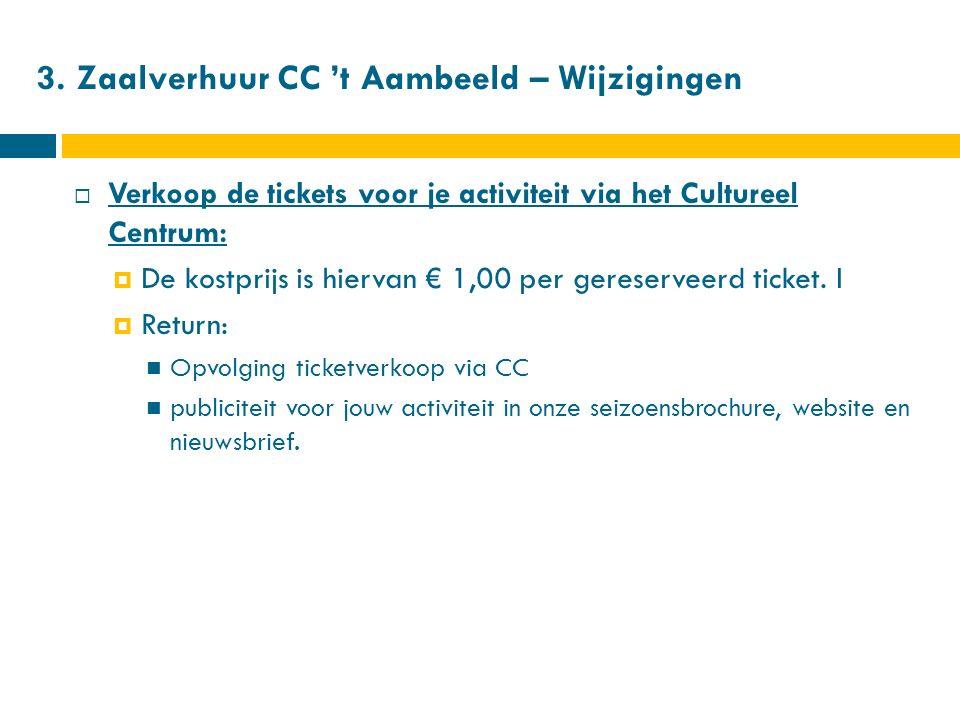 3. Zaalverhuur CC 't Aambeeld – Wijzigingen  Verkoop de tickets voor je activiteit via het Cultureel Centrum:  De kostprijs is hiervan € 1,00 per ge