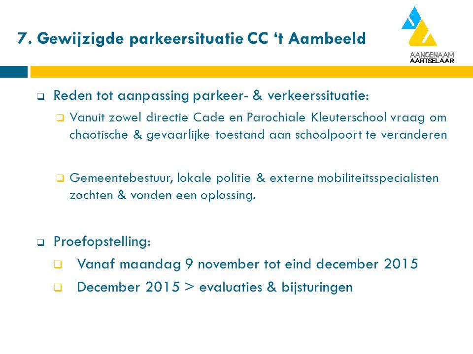 7. Gewijzigde parkeersituatie CC 't Aambeeld  Reden tot aanpassing parkeer- & verkeerssituatie:  Vanuit zowel directie Cade en Parochiale Kleutersch