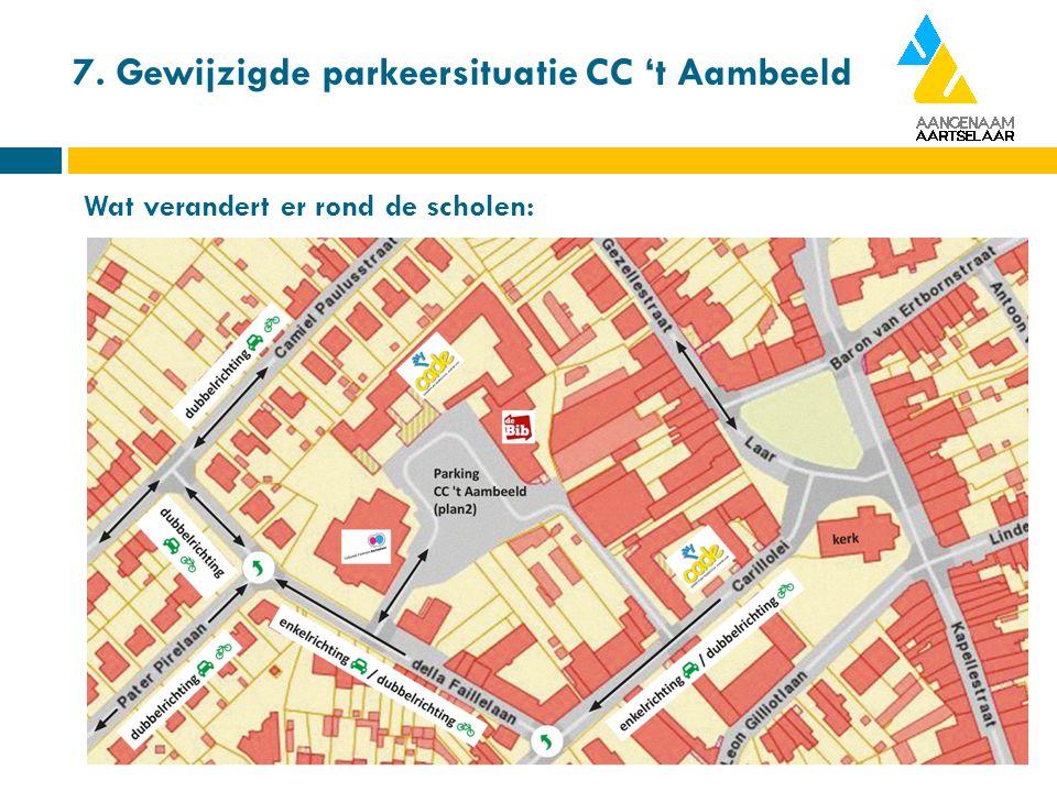 7. Gewijzigde parkeersituatie CC 't Aambeeld Wat verandert er rond de scholen: