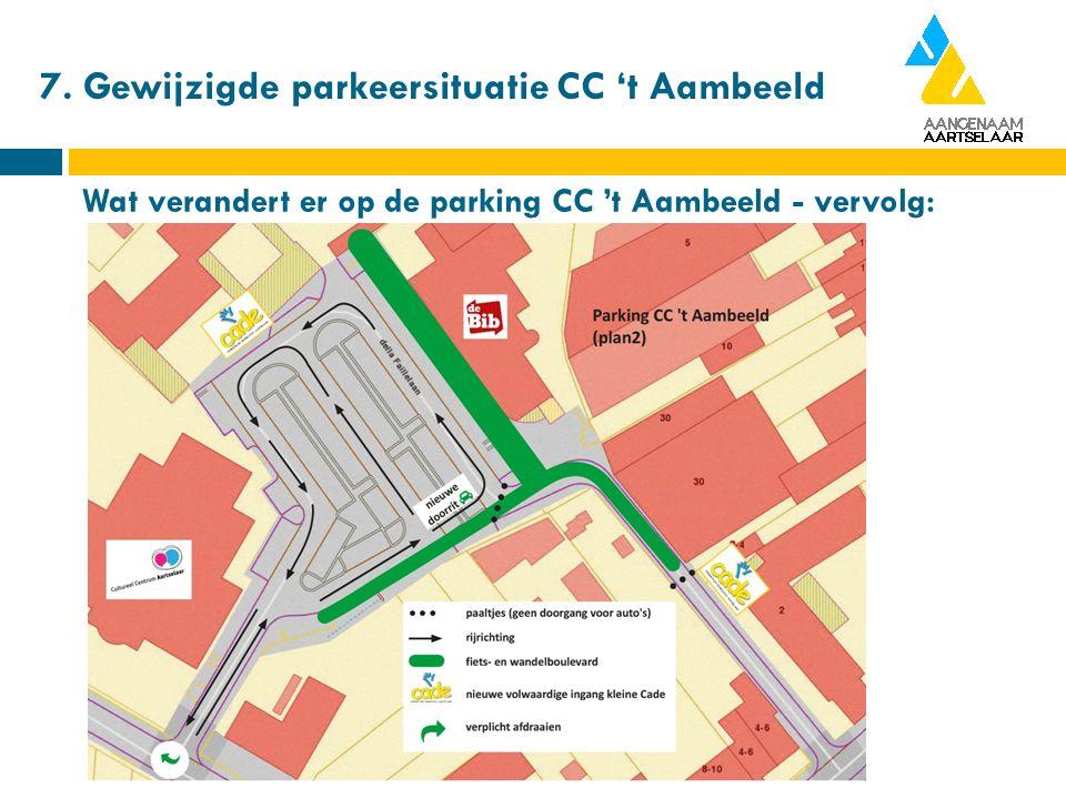 7. Gewijzigde parkeersituatie CC 't Aambeeld Wat verandert er op de parking CC 't Aambeeld - vervolg: