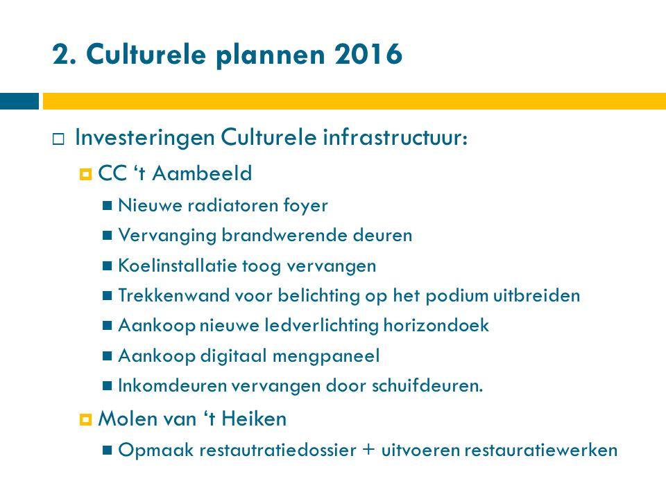 2. Culturele plannen 2016  Investeringen Culturele infrastructuur:  CC 't Aambeeld Nieuwe radiatoren foyer Vervanging brandwerende deuren Koelinstal