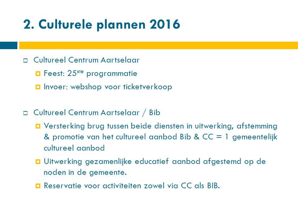 2. Culturele plannen 2016  Cultureel Centrum Aartselaar  Feest: 25 ste programmatie  Invoer: webshop voor ticketverkoop  Cultureel Centrum Aartsel