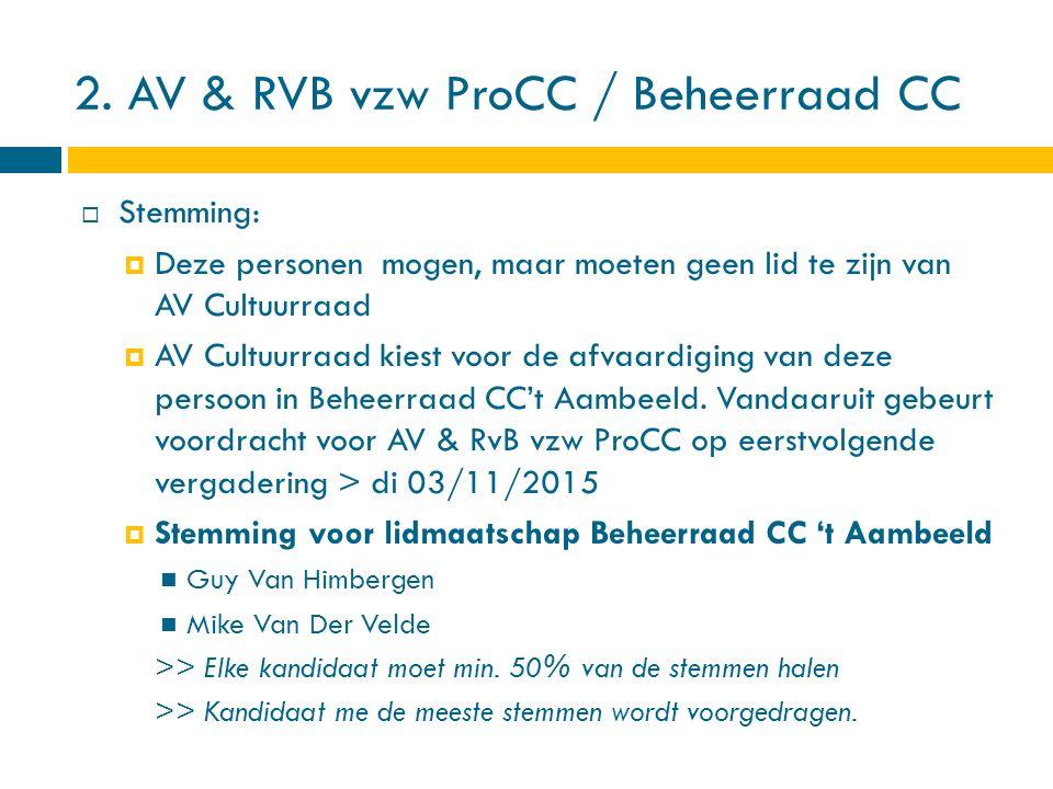 2. AV & RVB vzw ProCC / Beheerraad CC  Stemming:  Deze personen mogen, maar moeten geen lid te zijn van AV Cultuurraad  AV Cultuurraad kiest voor d
