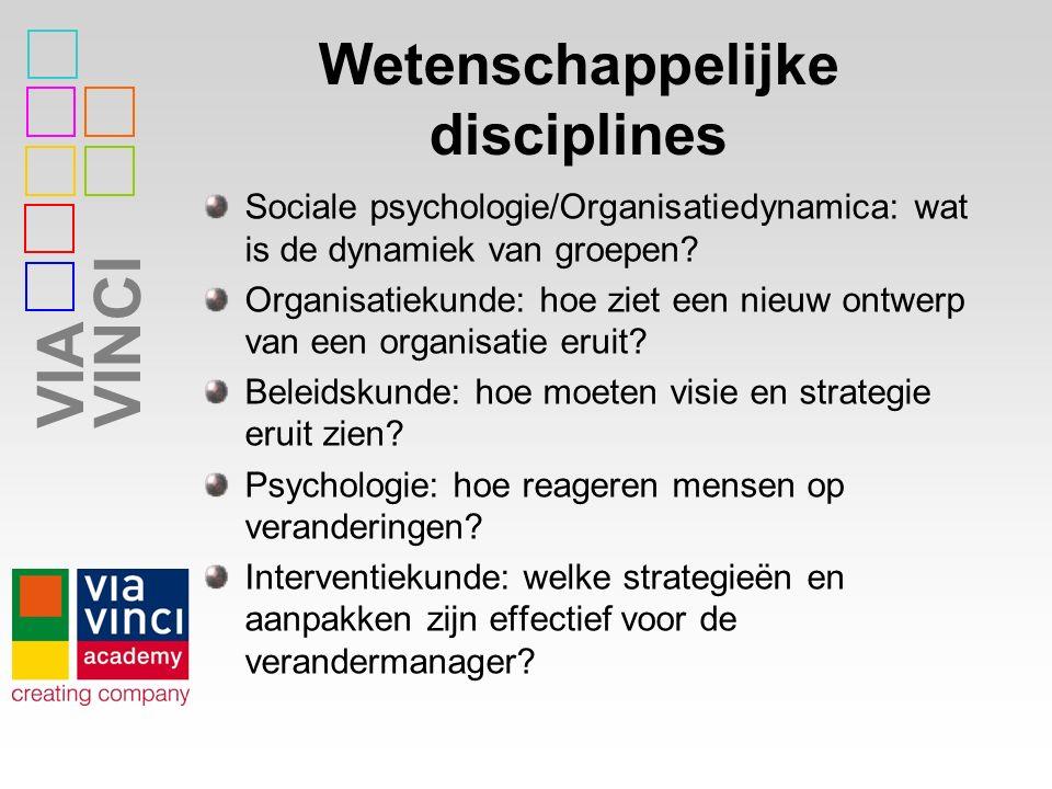 VIAVINCI Wetenschappelijke disciplines Sociale psychologie/Organisatiedynamica: wat is de dynamiek van groepen? Organisatiekunde: hoe ziet een nieuw o