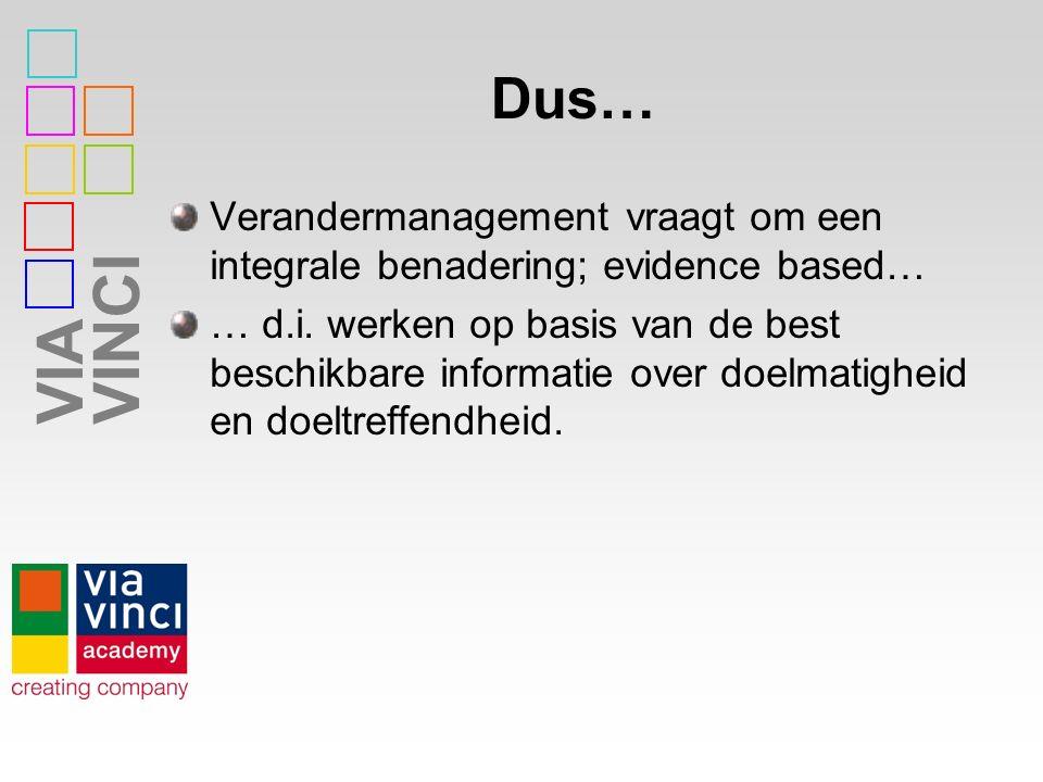 VIAVINCI Dus… Verandermanagement vraagt om een integrale benadering; evidence based… … d.i. werken op basis van de best beschikbare informatie over do