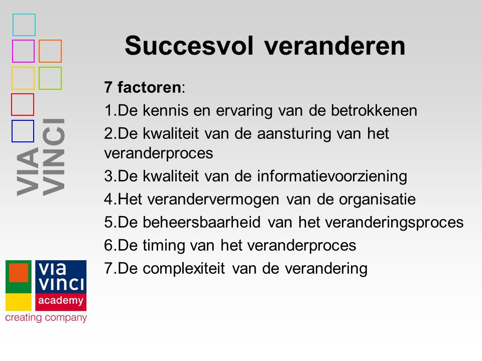 VIAVINCI Succesvol veranderen 7 factoren: 1.De kennis en ervaring van de betrokkenen 2.De kwaliteit van de aansturing van het veranderproces 3.De kwal