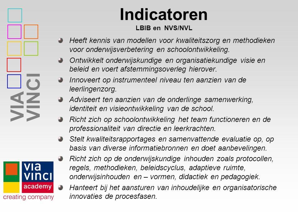 VIAVINCI Indicatoren LBIB en NVS/NVL Heeft kennis van modellen voor kwaliteitszorg en methodieken voor onderwijsverbetering en schoolontwikkeling. Ont