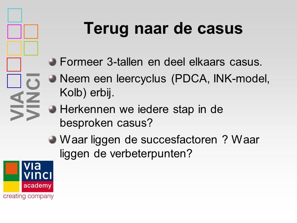 VIAVINCI Terug naar de casus Formeer 3-tallen en deel elkaars casus. Neem een leercyclus (PDCA, INK-model, Kolb) erbij. Herkennen we iedere stap in de