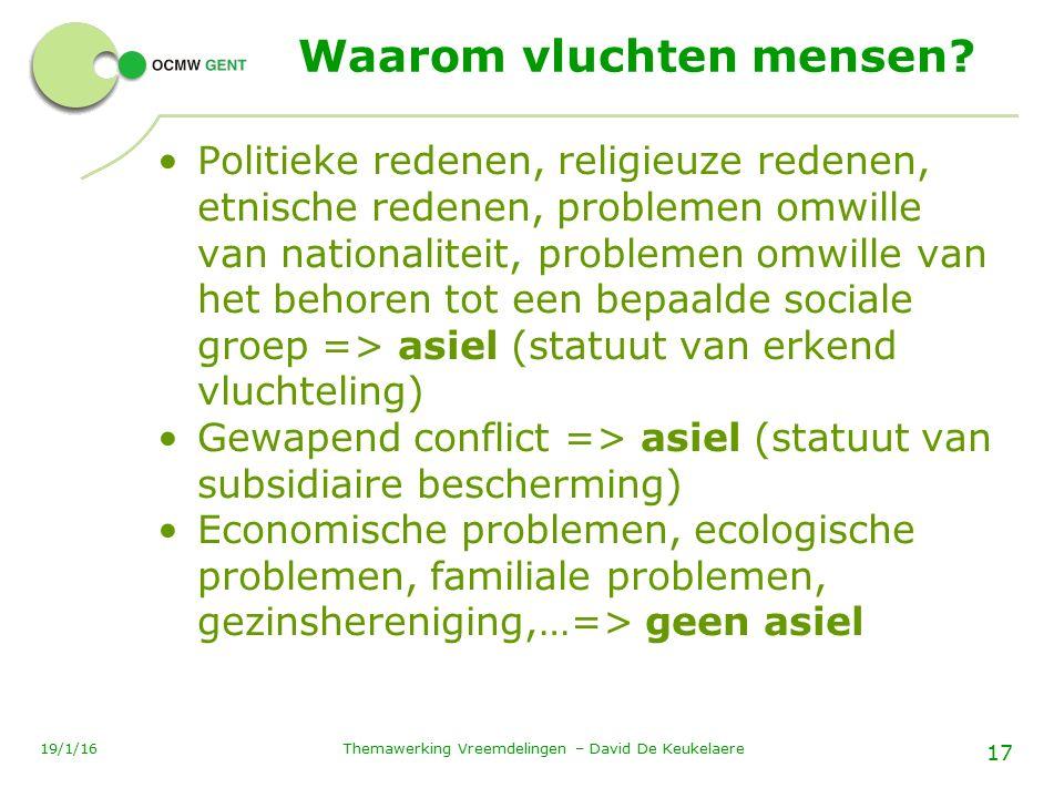 Themawerking Vreemdelingen – David De Keukelaere 17 19/1/16 Waarom vluchten mensen.