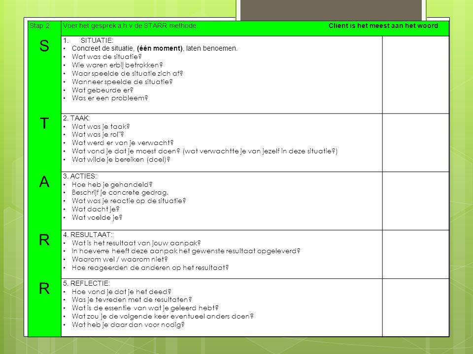 Stap 2.Voer het gesprek a.h.v de STARR methode. Client is het meest aan het woord. S 1.SITUATIE: Concreet de situatie, (één moment), laten benoemen. W