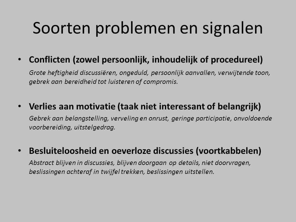 Soorten problemen en signalen Conflicten (zowel persoonlijk, inhoudelijk of procedureel) Grote heftigheid discussiëren, ongeduld, persoonlijk aanvalle
