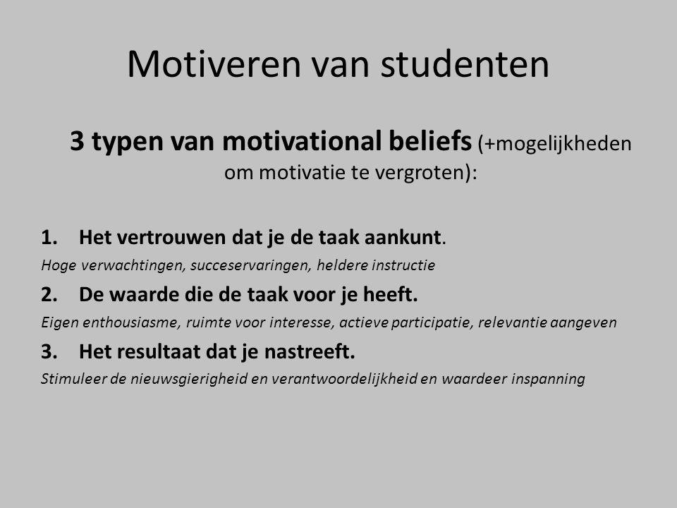 Motiveren van studenten 3 typen van motivational beliefs (+mogelijkheden om motivatie te vergroten): 1.Het vertrouwen dat je de taak aankunt. Hoge ver