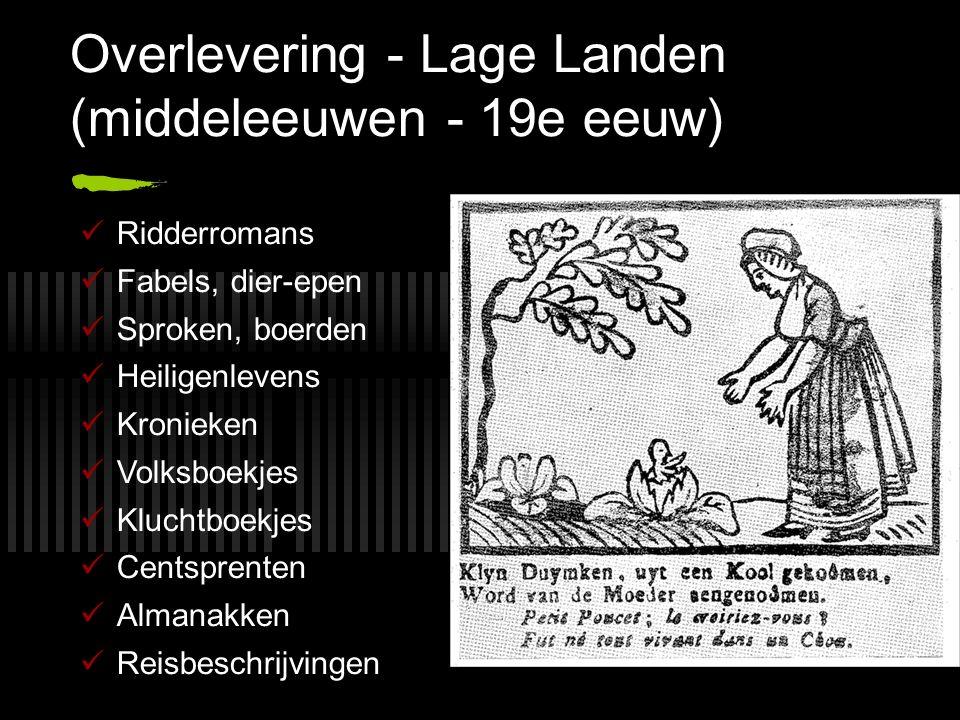 Overlevering - Lage Landen (middeleeuwen - 19e eeuw) Ridderromans Fabels, dier-epen Sproken, boerden Heiligenlevens Kronieken Volksboekjes Kluchtboekj