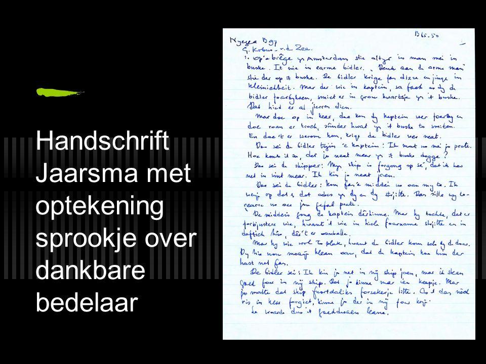 Handschrift Jaarsma met optekening sprookje over dankbare bedelaar