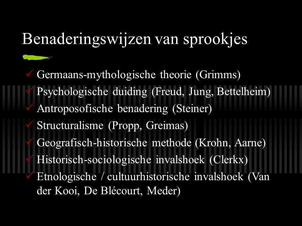 Benaderingswijzen van sprookjes Germaans-mythologische theorie (Grimms) Psychologische duiding (Freud, Jung, Bettelheim) Antroposofische benadering (S