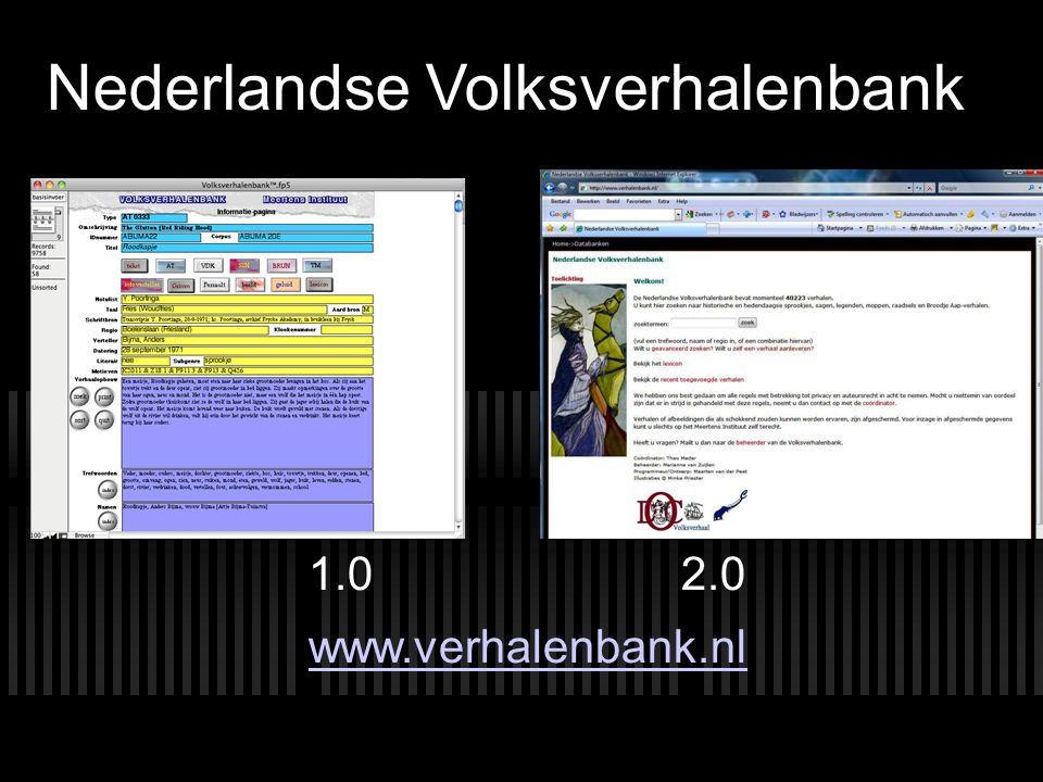 Nederlandse Volksverhalenbank 1.0 2.0 www.verhalenbank.nl