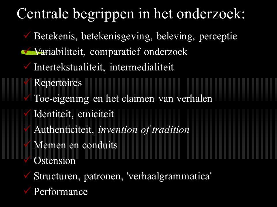 Centrale begrippen in het onderzoek: Betekenis, betekenisgeving, beleving, perceptie Variabiliteit, comparatief onderzoek Intertekstualiteit, intermed