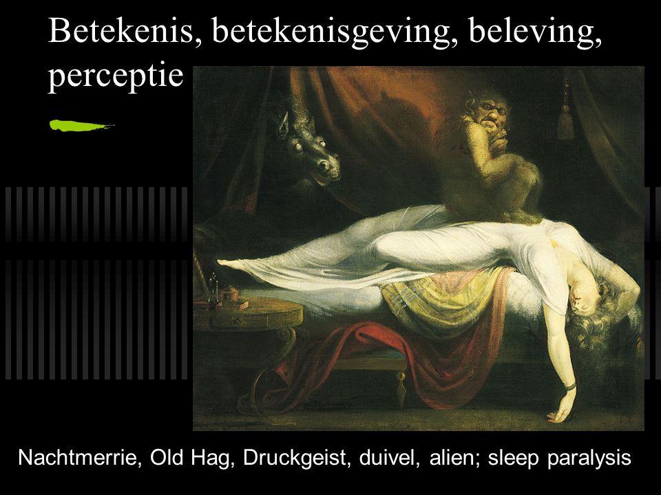 Betekenis, betekenisgeving, beleving, perceptie Nachtmerrie, Old Hag, Druckgeist, duivel, alien; sleep paralysis