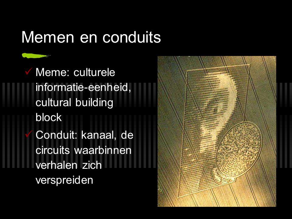 Memen en conduits Meme: culturele informatie-eenheid, cultural building block Conduit: kanaal, de circuits waarbinnen verhalen zich verspreiden