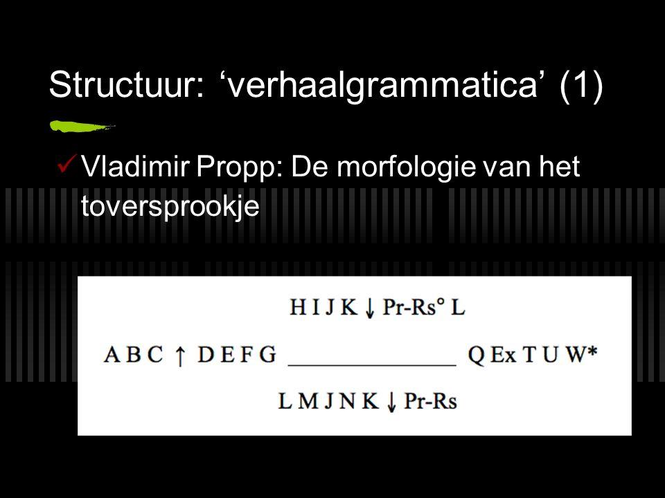 Structuur: 'verhaalgrammatica' (1) Vladimir Propp: De morfologie van het toversprookje