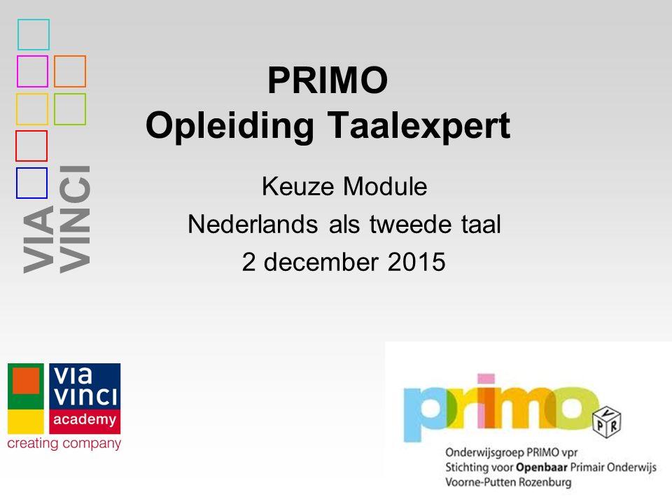 VIAVINCI PRIMO Opleiding Taalexpert 1 Keuze Module Nederlands als tweede taal 2 december 2015