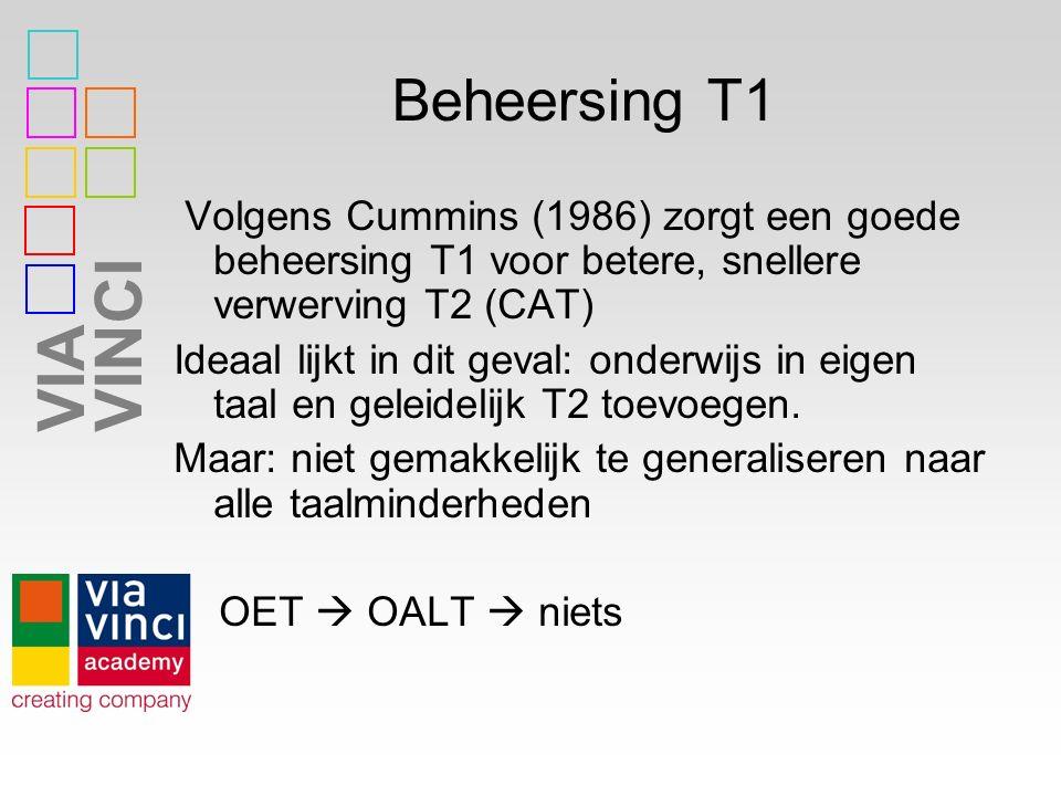 VIAVINCI Beheersing T1 Volgens Cummins (1986) zorgt een goede beheersing T1 voor betere, snellere verwerving T2 (CAT) Ideaal lijkt in dit geval: onder