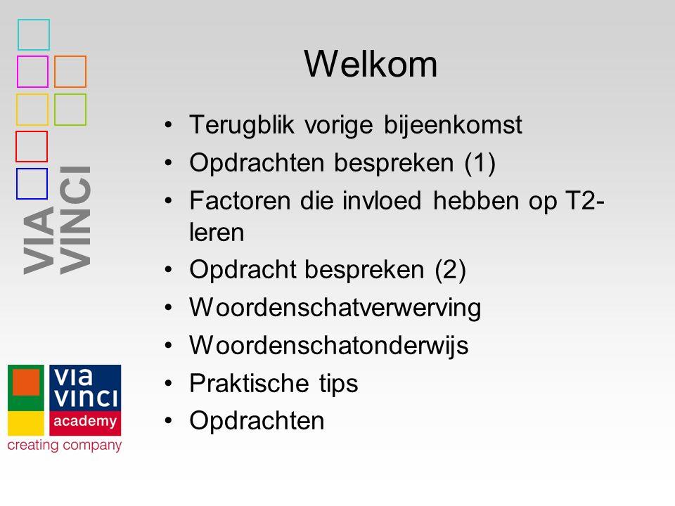 VIAVINCI Welkom Terugblik vorige bijeenkomst Opdrachten bespreken (1) Factoren die invloed hebben op T2- leren Opdracht bespreken (2) Woordenschatverw
