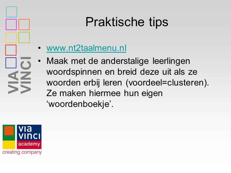 VIAVINCI Praktische tips www.nt2taalmenu.nl Maak met de anderstalige leerlingen woordspinnen en breid deze uit als ze woorden erbij leren (voordeel=cl