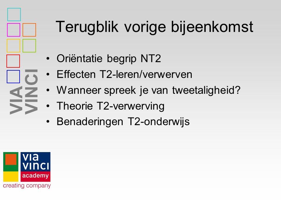 VIAVINCI Terugblik vorige bijeenkomst Oriëntatie begrip NT2 Effecten T2-leren/verwerven Wanneer spreek je van tweetaligheid? Theorie T2-verwerving Ben