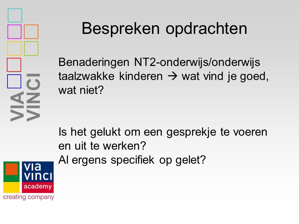 VIAVINCI Bespreken opdrachten Benaderingen NT2-onderwijs/onderwijs taalzwakke kinderen  wat vind je goed, wat niet? Is het gelukt om een gesprekje te