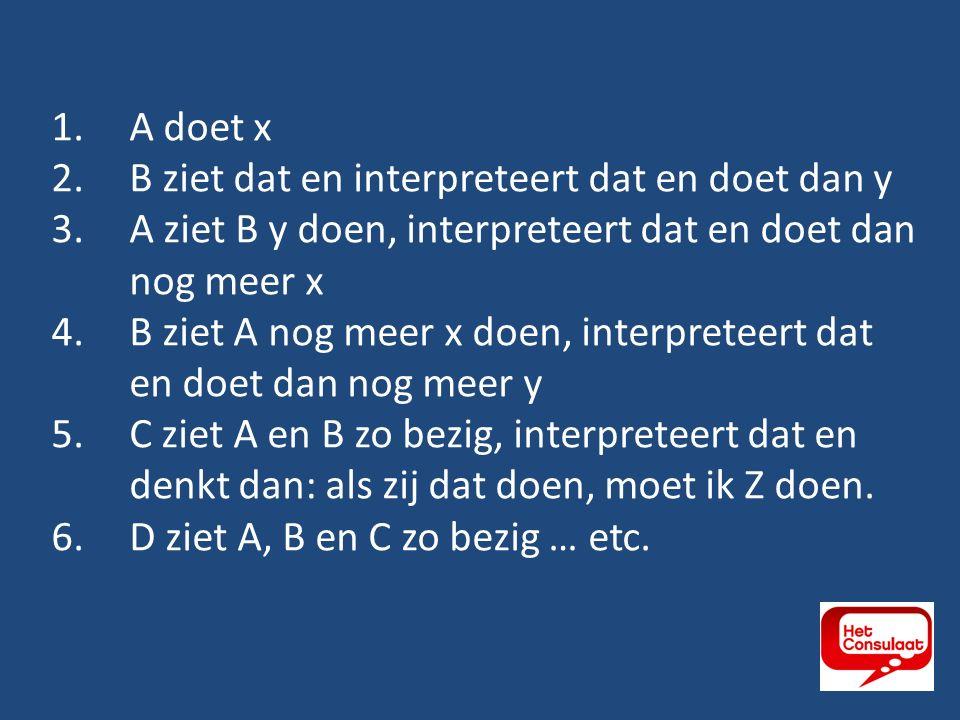1.A doet x 2.B ziet dat en interpreteert dat en doet dan y 3.A ziet B y doen, interpreteert dat en doet dan nog meer x 4.B ziet A nog meer x doen, interpreteert dat en doet dan nog meer y 5.C ziet A en B zo bezig, interpreteert dat en denkt dan: als zij dat doen, moet ik Z doen.