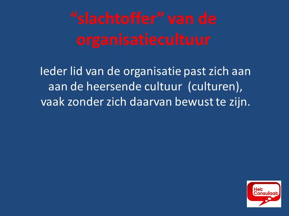 Ieder lid van de organisatie past zich aan aan de heersende cultuur (culturen), vaak zonder zich daarvan bewust te zijn.