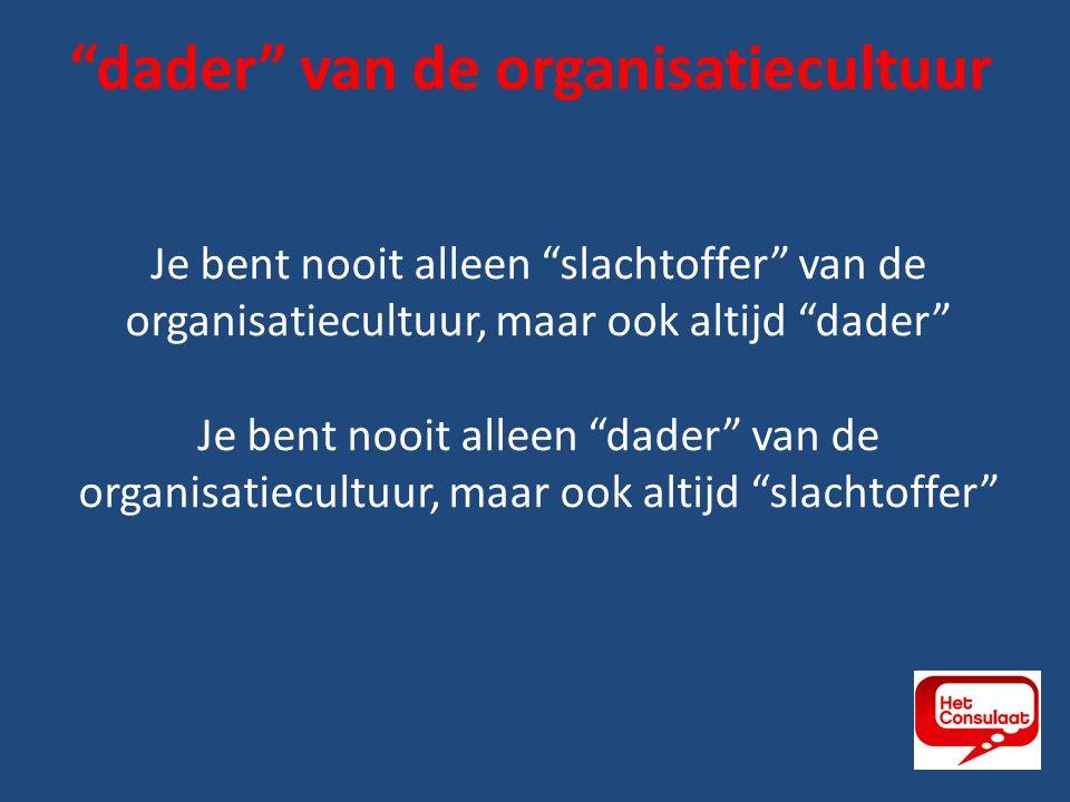 Je bent nooit alleen slachtoffer van de organisatiecultuur, maar ook altijd dader Je bent nooit alleen dader van de organisatiecultuur, maar ook altijd slachtoffer dader van de organisatiecultuur