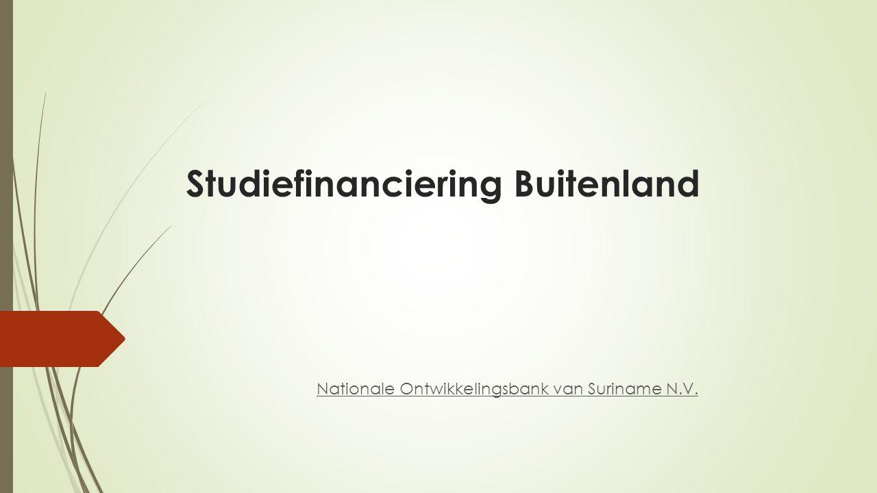 Onderwerpen  Fonds Studiefinanciering Suriname (FSS)  Voorwaarden Studiefinanciering Buitenland  Leenvarianten  Aanvraag procedure  Uitbetaling  Aflossing  Monitoring  Prestatiebeurzen  Default Studenten