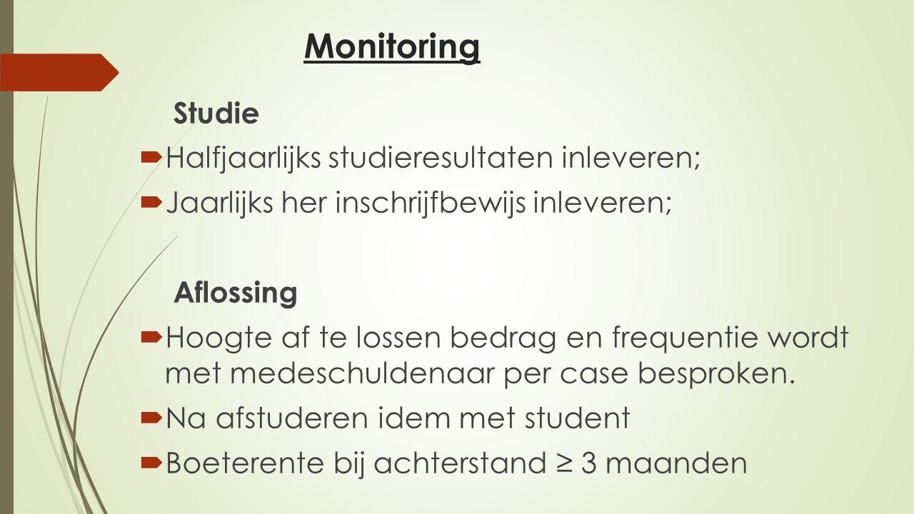 Monitoring Studie  Halfjaarlijks studieresultaten inleveren;  Jaarlijks her inschrijfbewijs inleveren; Aflossing  Hoogte af te lossen bedrag en fre