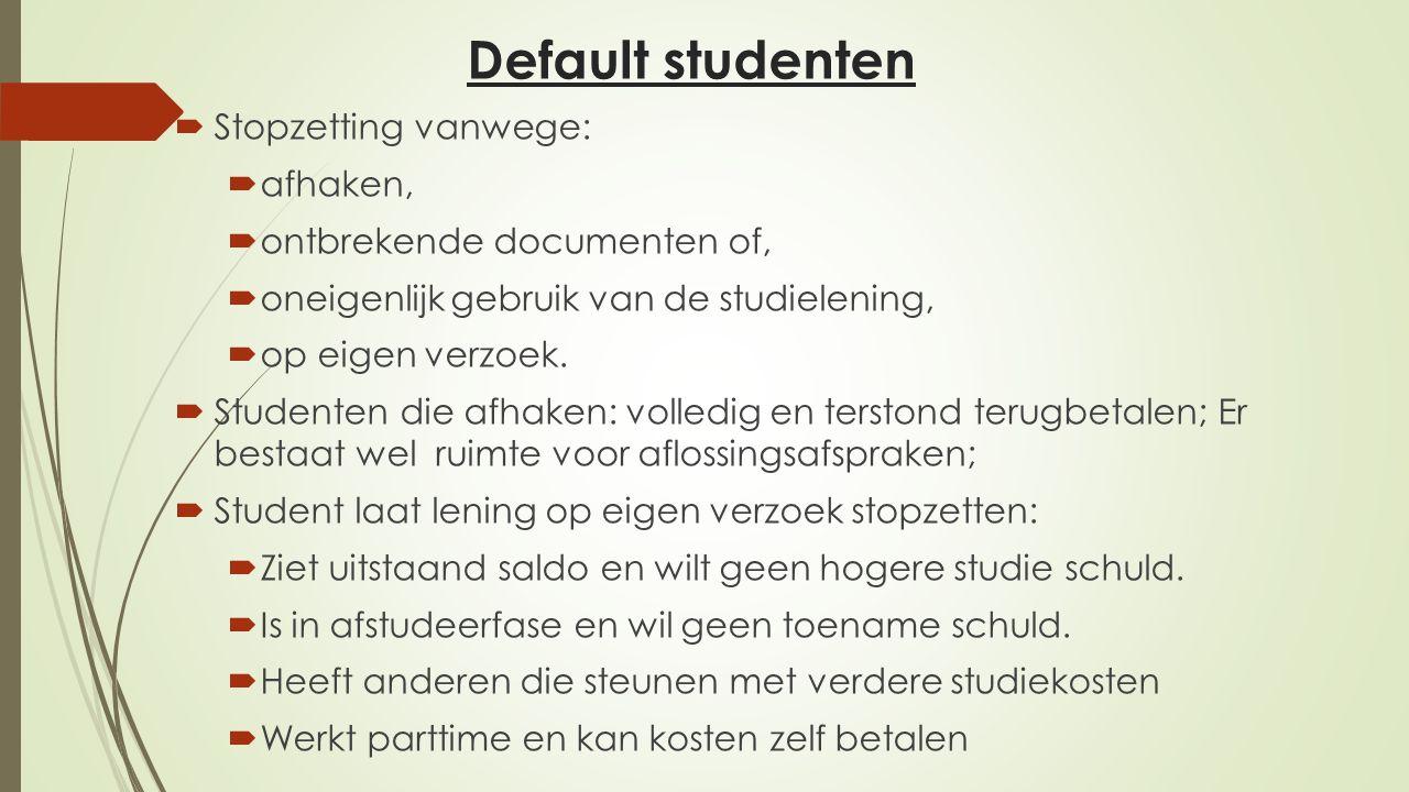 Default studenten  Stopzetting vanwege:  afhaken,  ontbrekende documenten of,  oneigenlijk gebruik van de studielening,  op eigen verzoek.  Stud