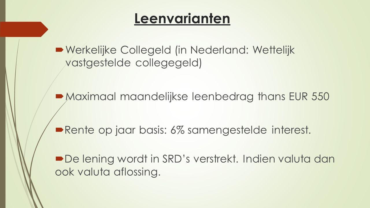 Leenvarianten  Werkelijke Collegeld (in Nederland: Wettelijk vastgestelde collegegeld)  Maximaal maandelijkse leenbedrag thans EUR 550  Rente op ja