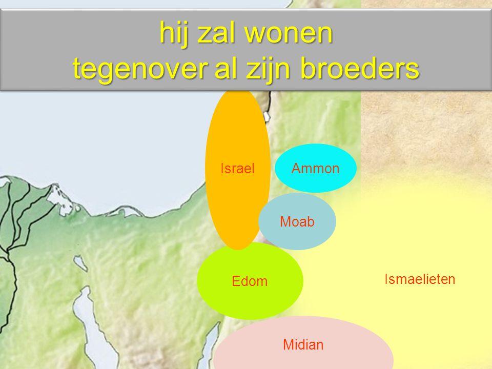 Ismaelieten Ammon Midian Edom Israel Moab hij zal wonen tegenover al zijn broeders hij zal wonen tegenover al zijn broeders