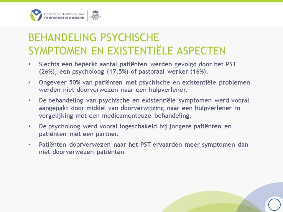 BEHANDELING PSYCHISCHE SYMPTOMEN EN EXISTENTIËLE ASPECTEN Slechts een beperkt aantal patiënten werden gevolgd door het PST (26%), een psycholoog (17.5%) of pastoraal werker (16%).