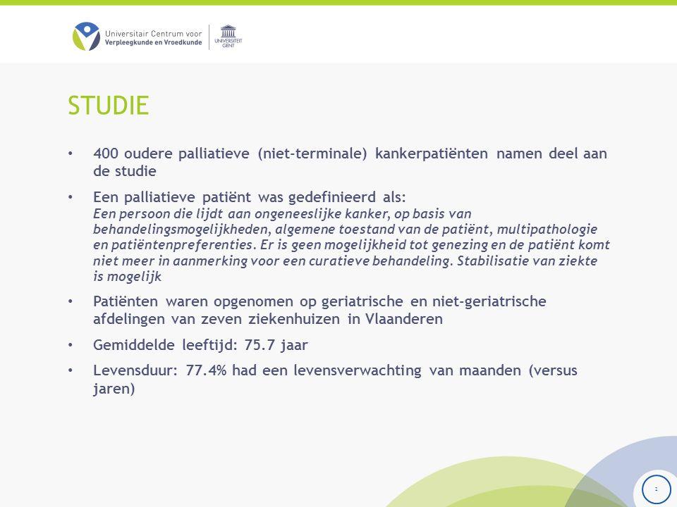 STUDIE 400 oudere palliatieve (niet-terminale) kankerpatiënten namen deel aan de studie Een palliatieve patiënt was gedefinieerd als: Een persoon die lijdt aan ongeneeslijke kanker, op basis van behandelingsmogelijkheden, algemene toestand van de patiënt, multipathologie en patiëntenpreferenties.