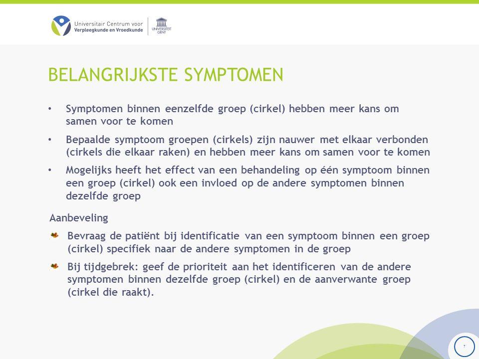 BELANGRIJKSTE SYMPTOMEN Symptomen binnen eenzelfde groep (cirkel) hebben meer kans om samen voor te komen Bepaalde symptoom groepen (cirkels) zijn nauwer met elkaar verbonden (cirkels die elkaar raken) en hebben meer kans om samen voor te komen Mogelijks heeft het effect van een behandeling op één symptoom binnen een groep (cirkel) ook een invloed op de andere symptomen binnen dezelfde groep 7 Aanbeveling Bevraag de patiënt bij identificatie van een symptoom binnen een groep (cirkel) specifiek naar de andere symptomen in de groep Bij tijdgebrek: geef de prioriteit aan het identificeren van de andere symptomen binnen dezelfde groep (cirkel) en de aanverwante groep (cirkel die raakt).