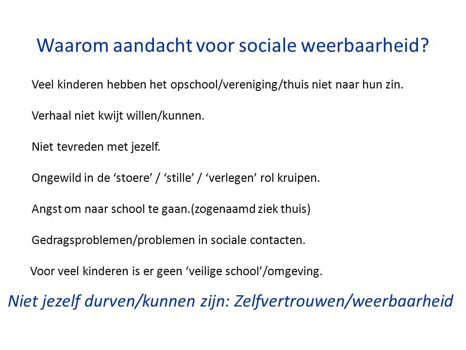 Waarom aandacht voor sociale weerbaarheid? Veel kinderen hebben het opschool/vereniging/thuis niet naar hun zin. Verhaal niet kwijt willen/kunnen. Nie