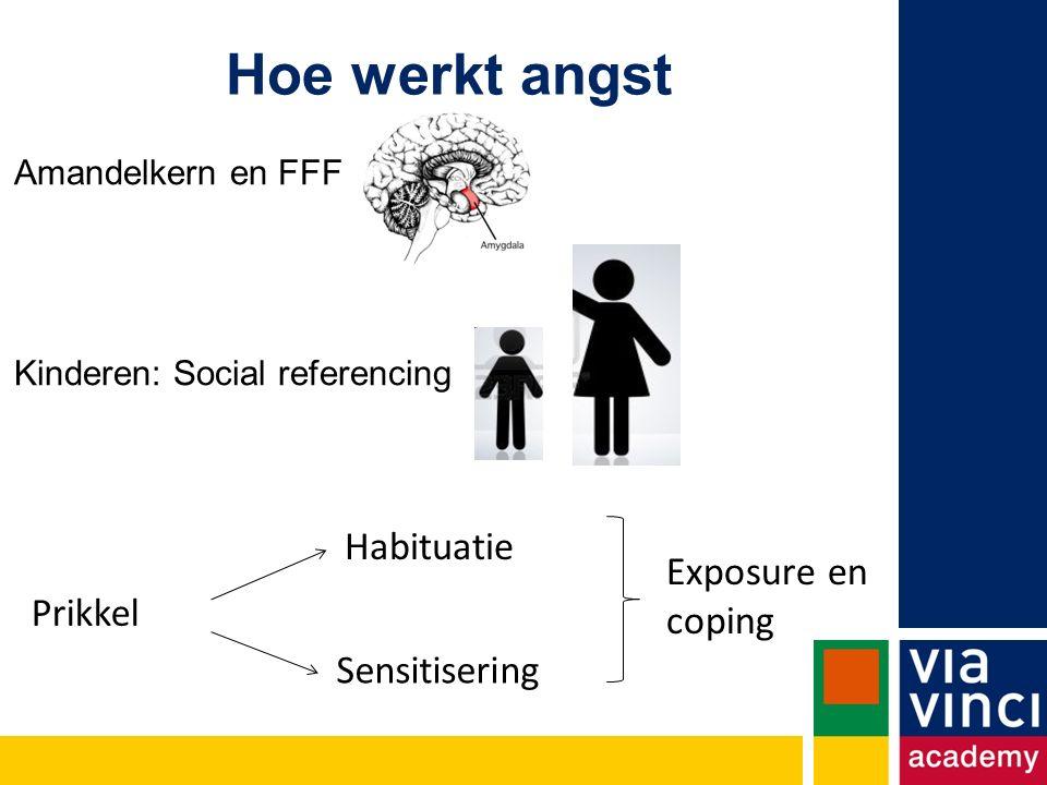 Hoe werkt angst Amandelkern en FFF Kinderen: Social referencing Habituatie Sensitisering Exposure en coping Prikkel