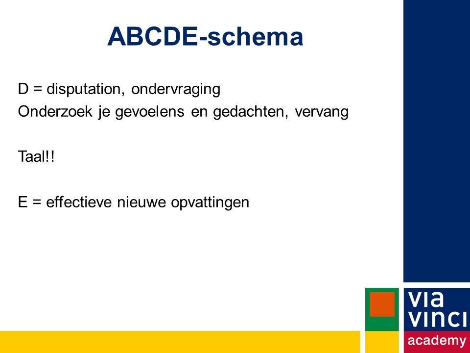 ABCDE-schema D = disputation, ondervraging Onderzoek je gevoelens en gedachten, vervang Taal!.
