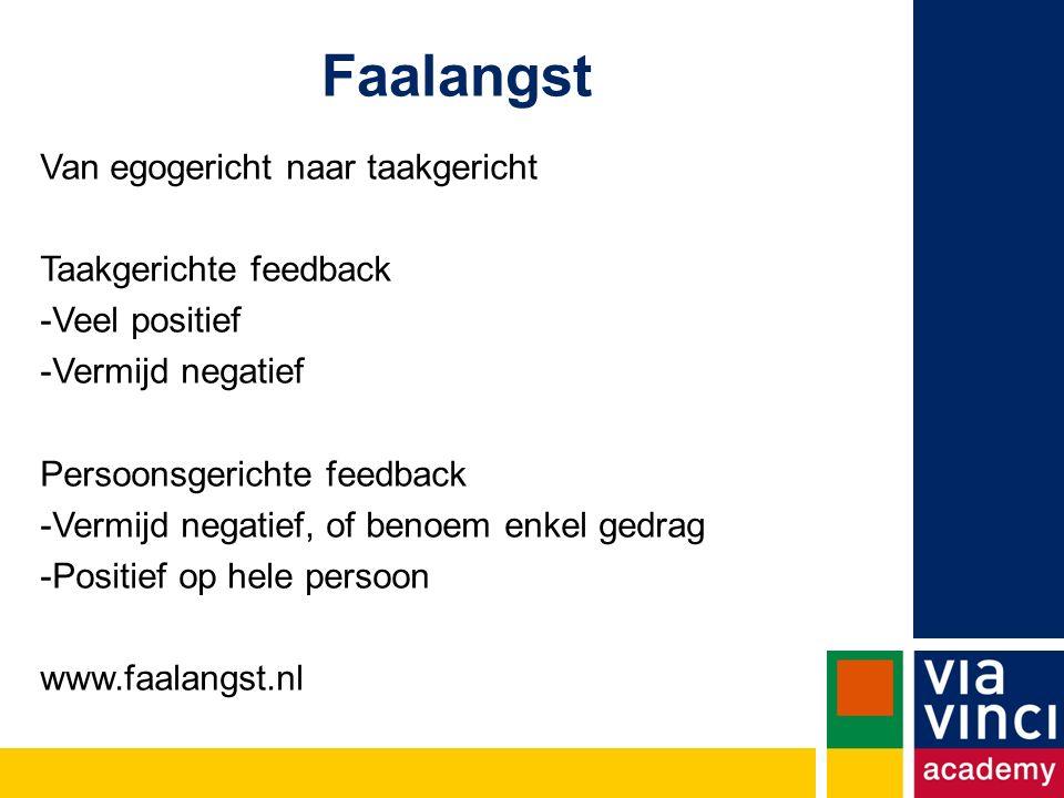 Van egogericht naar taakgericht Taakgerichte feedback -Veel positief -Vermijd negatief Persoonsgerichte feedback -Vermijd negatief, of benoem enkel gedrag -Positief op hele persoon www.faalangst.nl