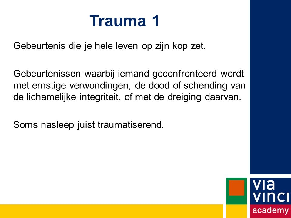 Trauma 1 Gebeurtenis die je hele leven op zijn kop zet.