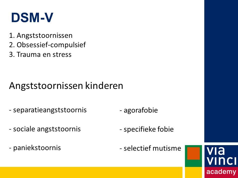 DSM-V - separatieangststoornis - sociale angststoornis - paniekstoornis - agorafobie - specifieke fobie - selectief mutisme 1.