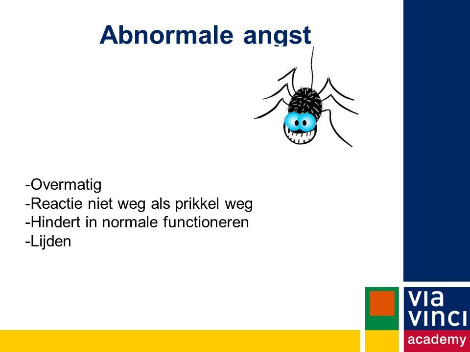 Abnormale angst -Overmatig -Reactie niet weg als prikkel weg -Hindert in normale functioneren -Lijden