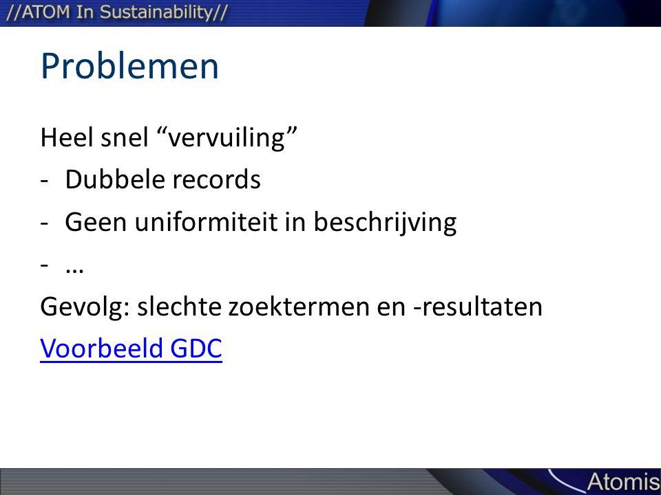 Problemen Heel snel vervuiling -Dubbele records -Geen uniformiteit in beschrijving -… Gevolg: slechte zoektermen en -resultaten Voorbeeld GDC