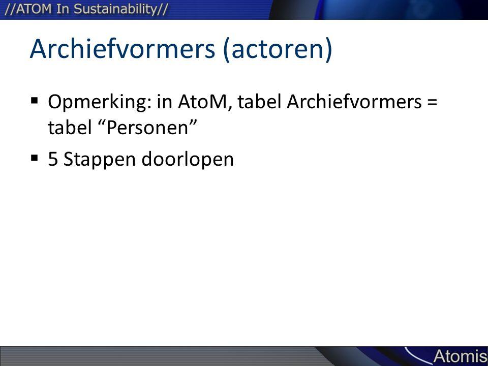 Archiefvormers (actoren)  Opmerking: in AtoM, tabel Archiefvormers = tabel Personen  5 Stappen doorlopen